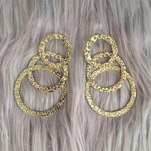 Amrita Singh Hammered Metal Gold 3-Ringed Earrings